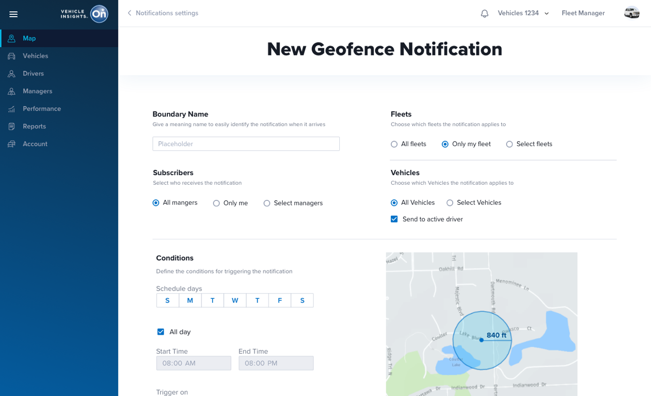 OnStar Vehicle Insights Geofencing Customization for GPS Car Tracker